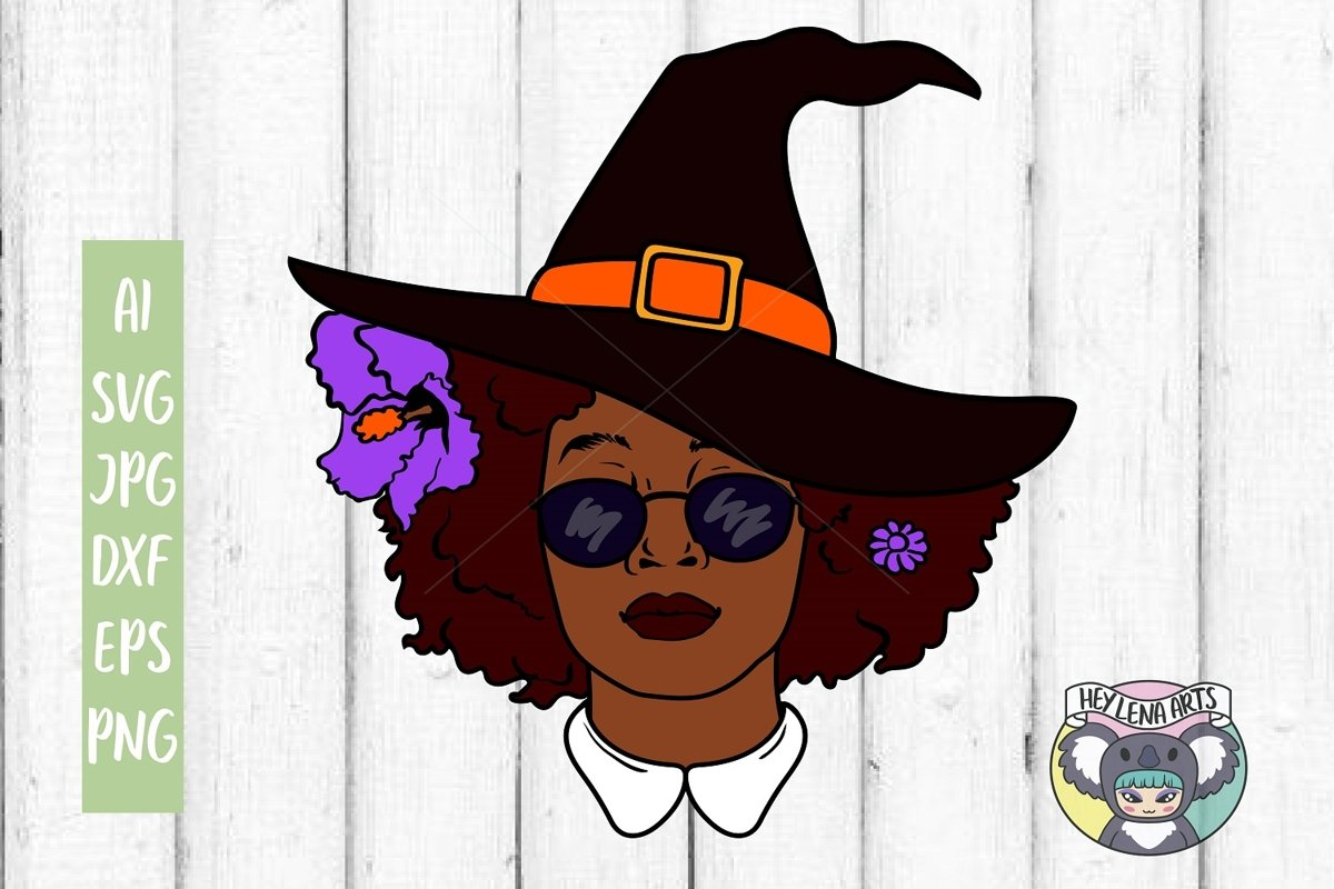 Black Woman svg, Witch svg, Halloween, Cricut Cut Files, dxf example image 1