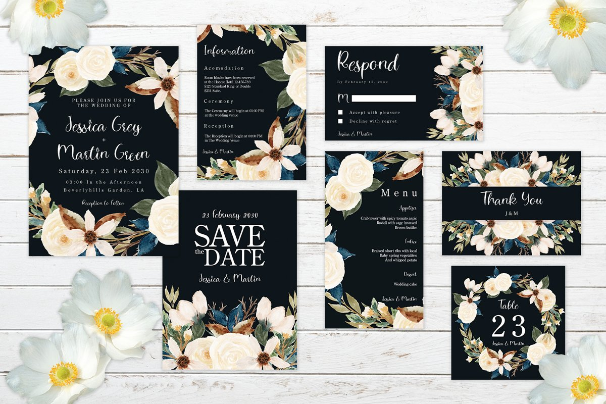 Romantic Navy And White Floral Wedding Invitation Set example image 1