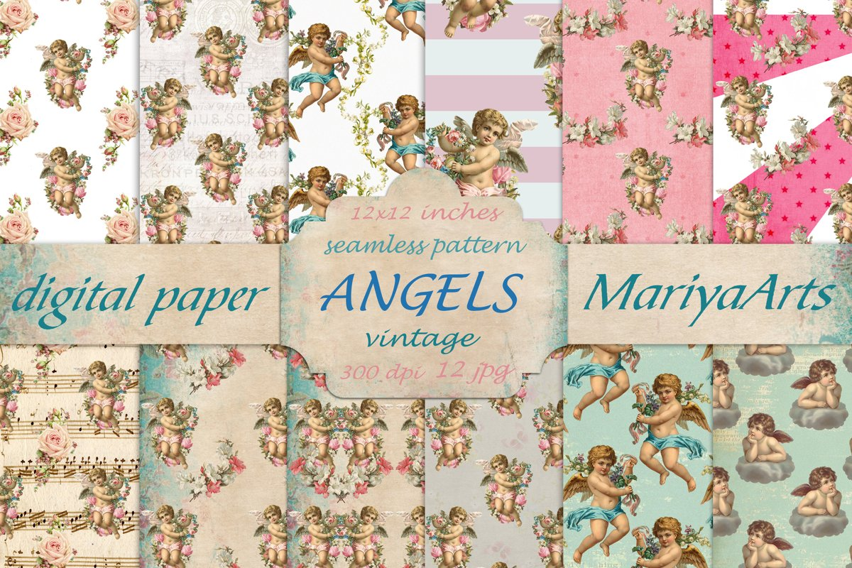 Cherub Angel, Seamless Paper Pack, Digital Background example image 1