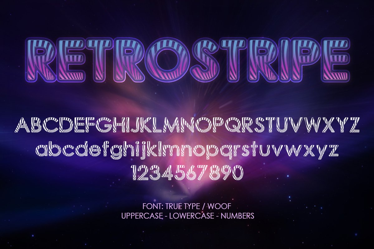 Retrostripe Font   Open Type & Woff Format example image 1