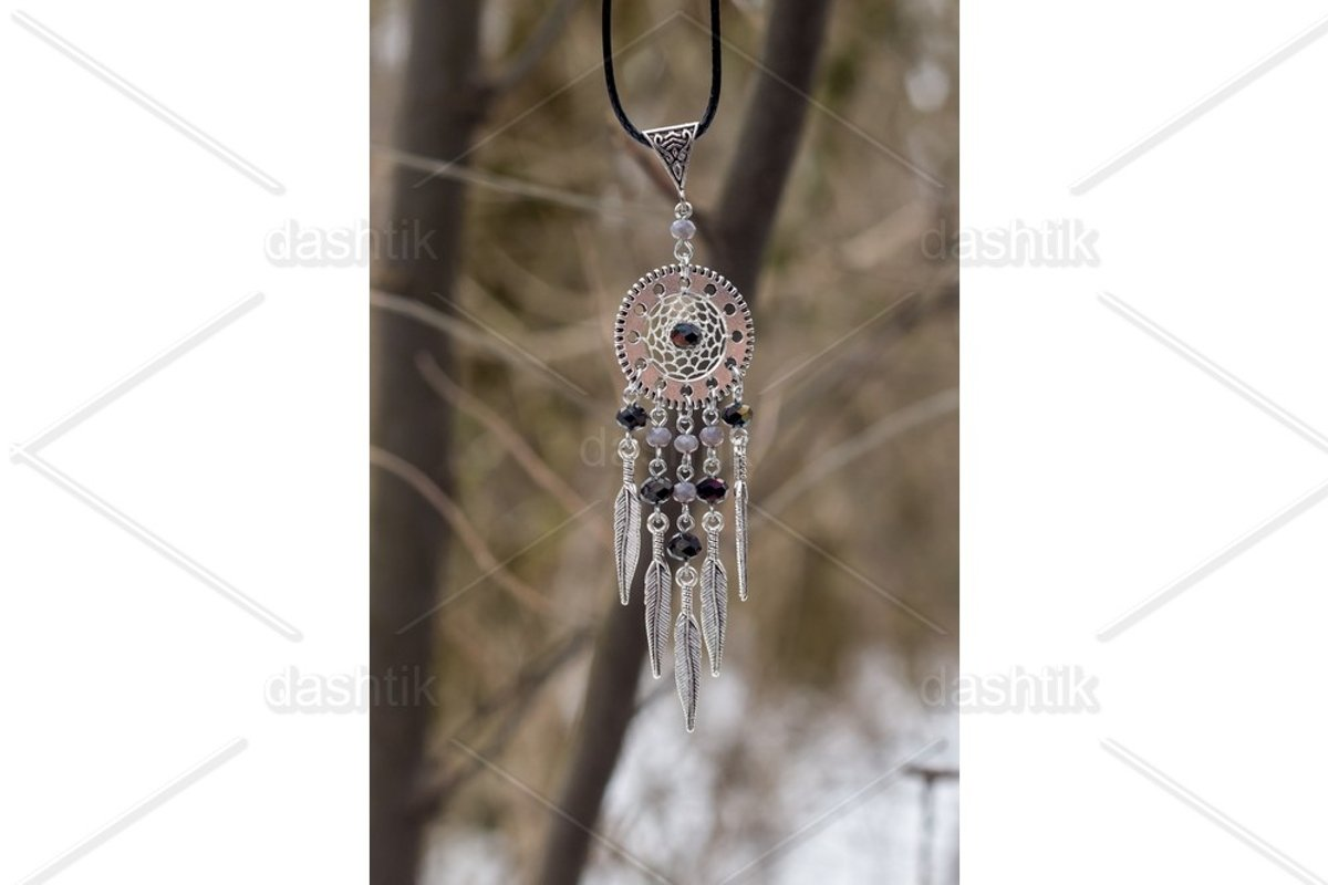 Dream catcher with feathers threads and beads rope hanging example image 1
