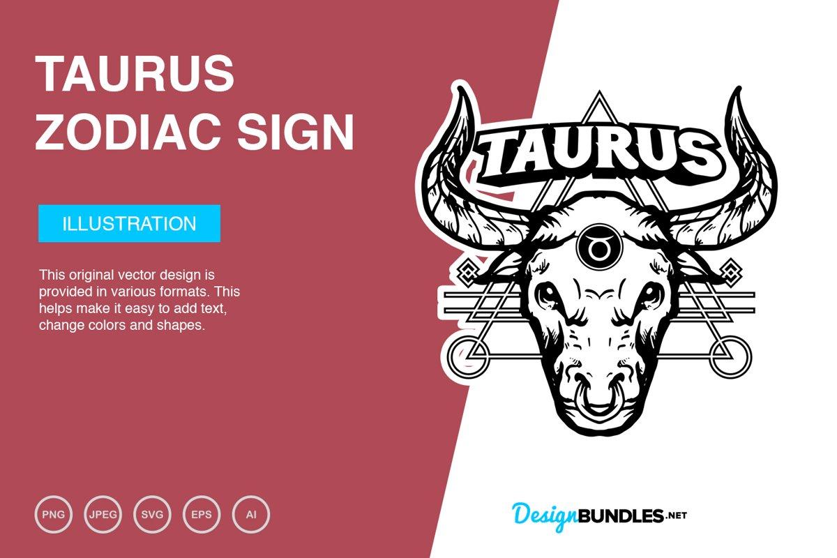 Taurus Zodiac Sign Vector Illustration example image 1