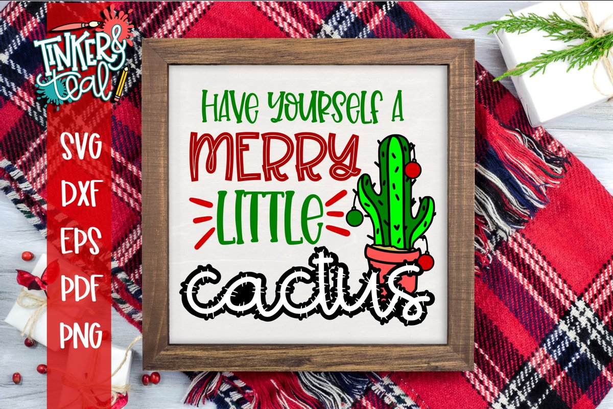 Have Yourself A Merry Little Cactus Christmas Cactus SVG example image 1