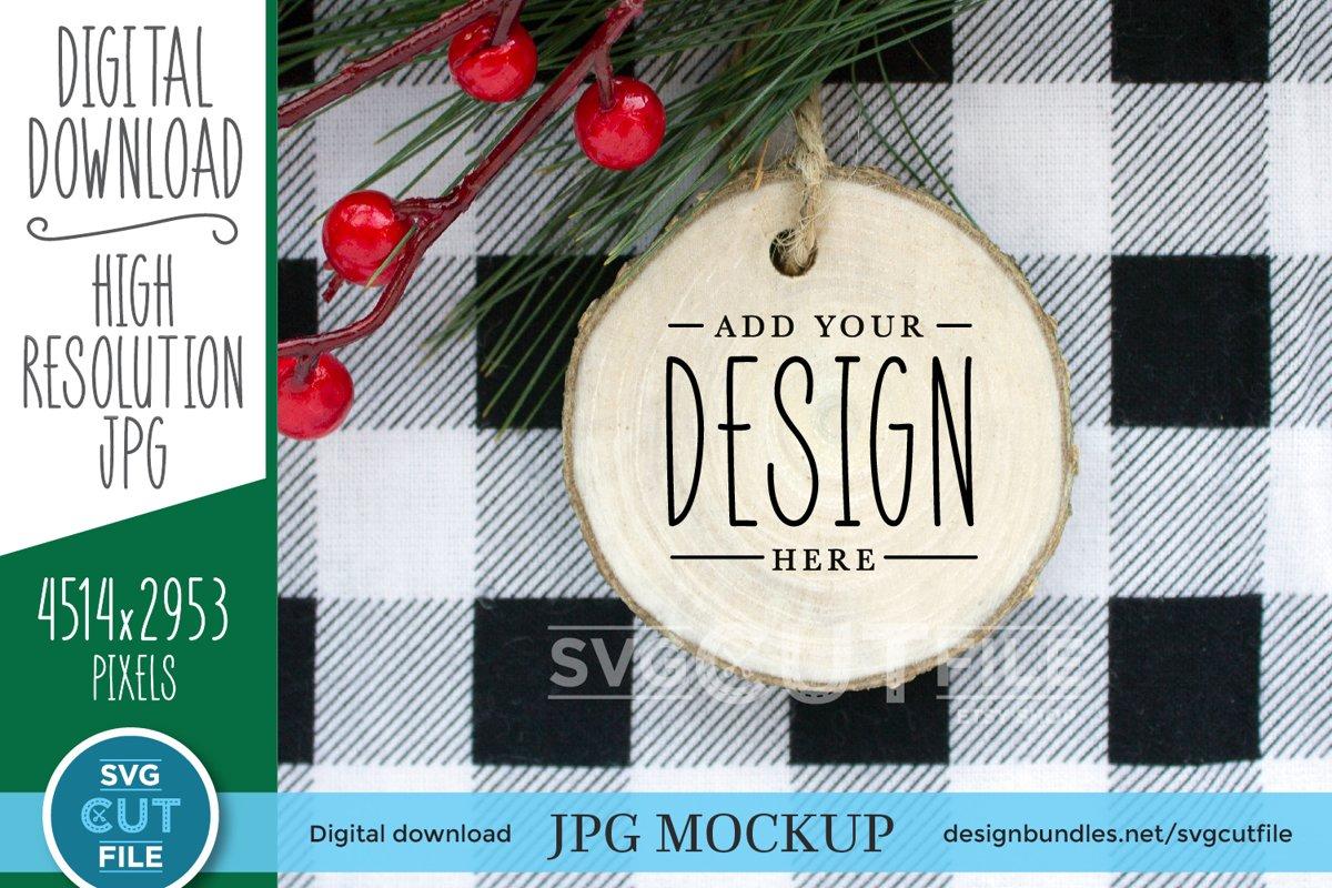 Round Wood Ornament Mockup, Christmas round wood slice mock example image 1