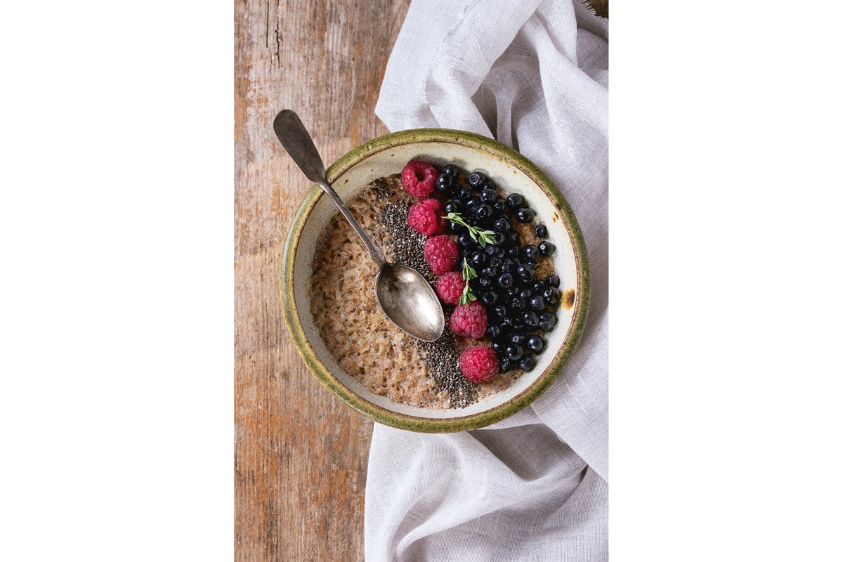 Oatmeal with berries and chia seeds example image 1