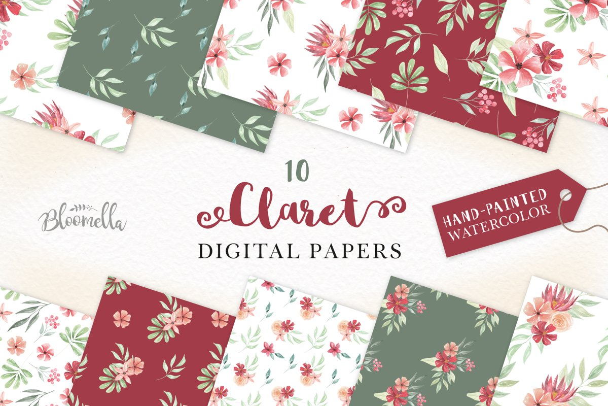 Claret Red Floral Seamless Patterns Green Digital Papers example image 1