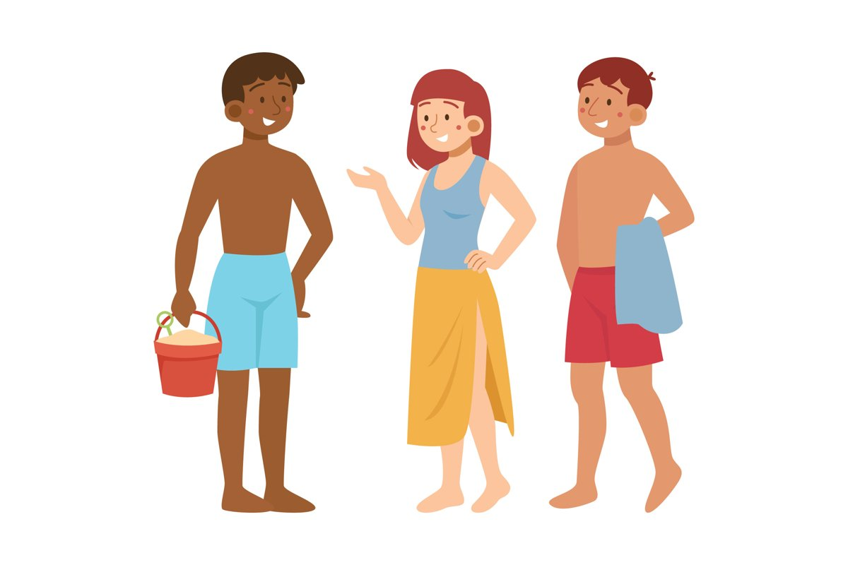 Beach People Illustration Concept example image 1