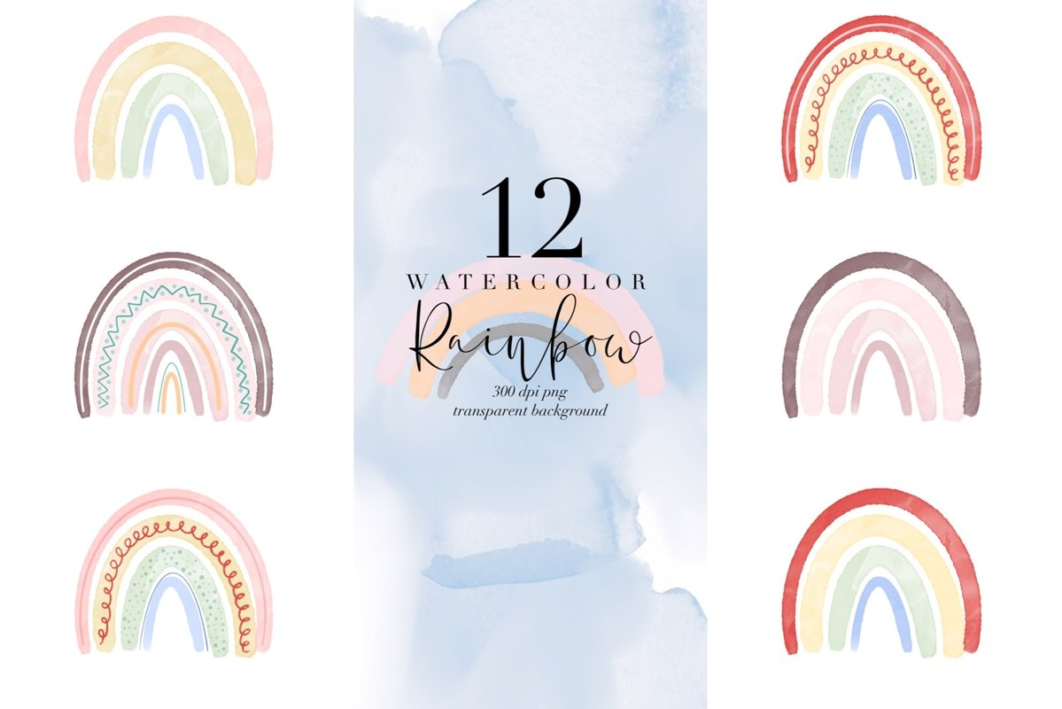 Bundle of 12 watercolor rainbow, rainbows abstract PNG color example image 1