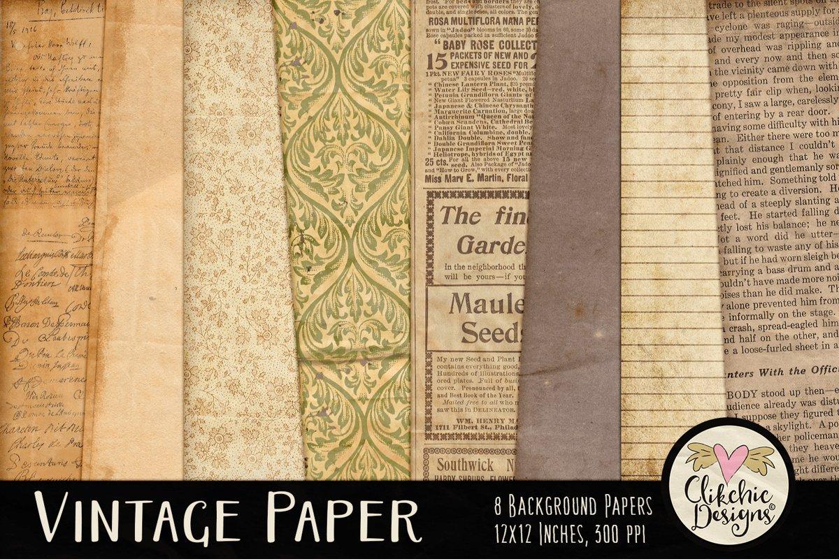 Vintage Paper Backgrounds - Vintage Texture Digital Papers example image 1
