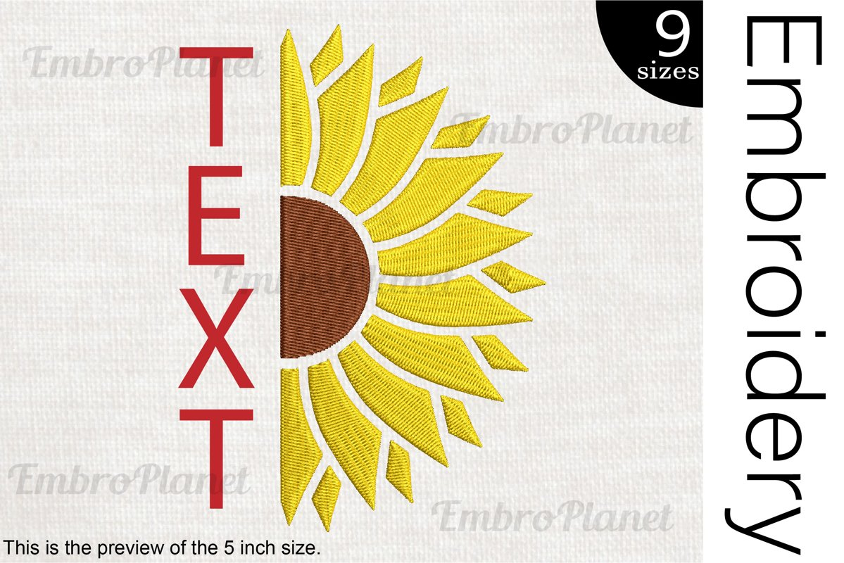 Split Sunflower - Embroidery Files - 1515e example image 1