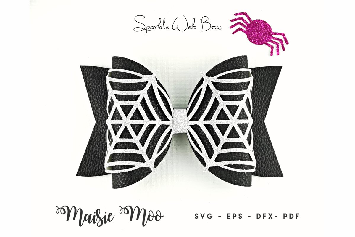 Spiderweb Bow Template SVG, Lace Bow SVG, Felt Bow PDF, example image 1