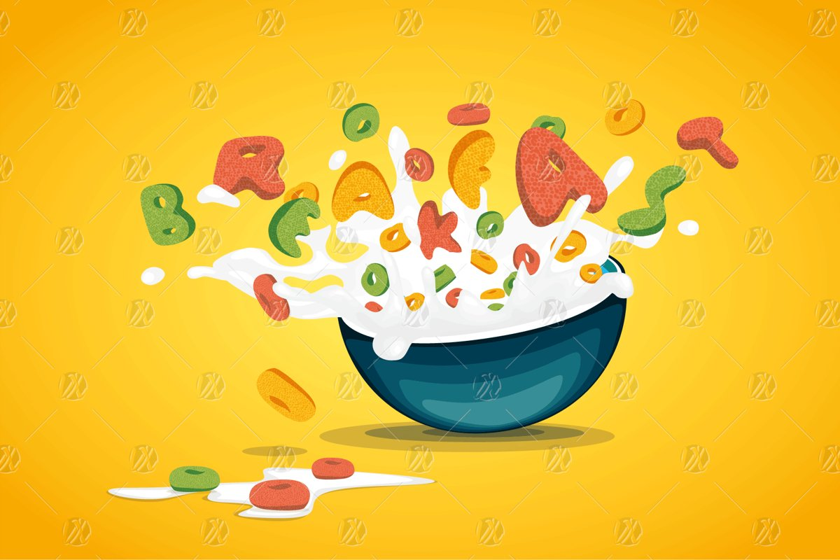 Cereal Oats Splash Milk Vector example image 1