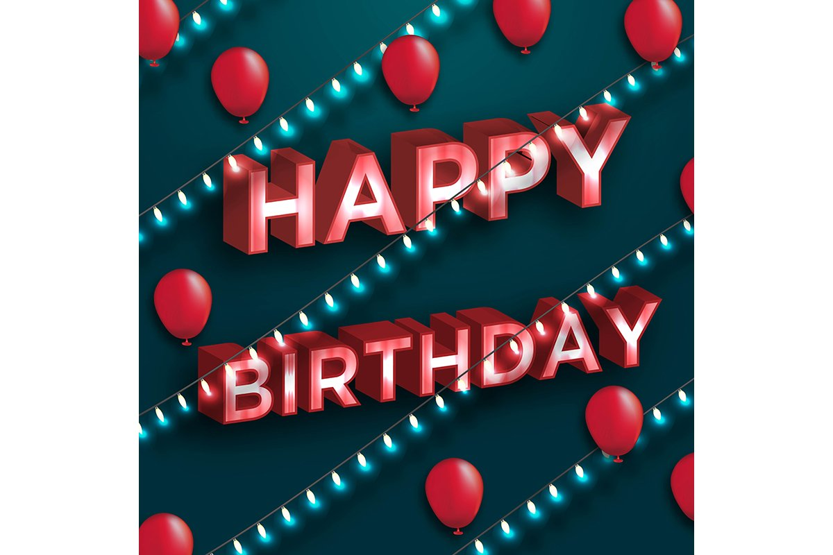 Happy Birthday typography vector design for greeting cards a example image 1