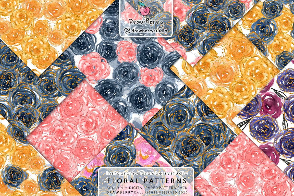 Watercolor Floral Pattern Pack example image 1