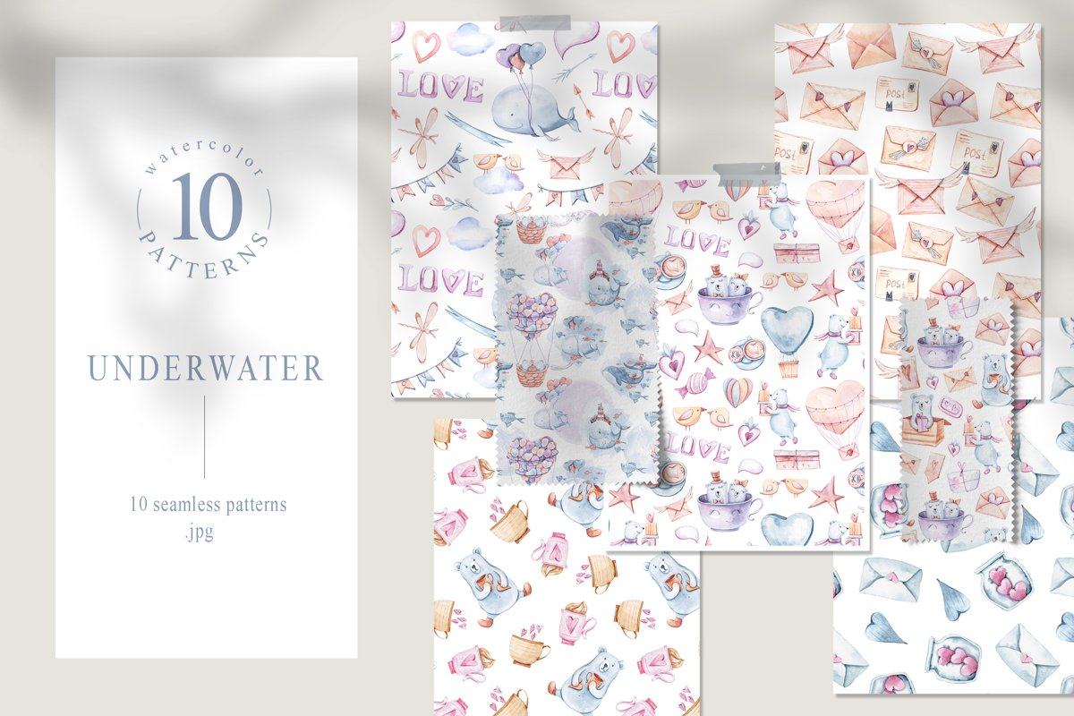 Watercolor underwater clipart. Fantasy seamless pattern example image 1