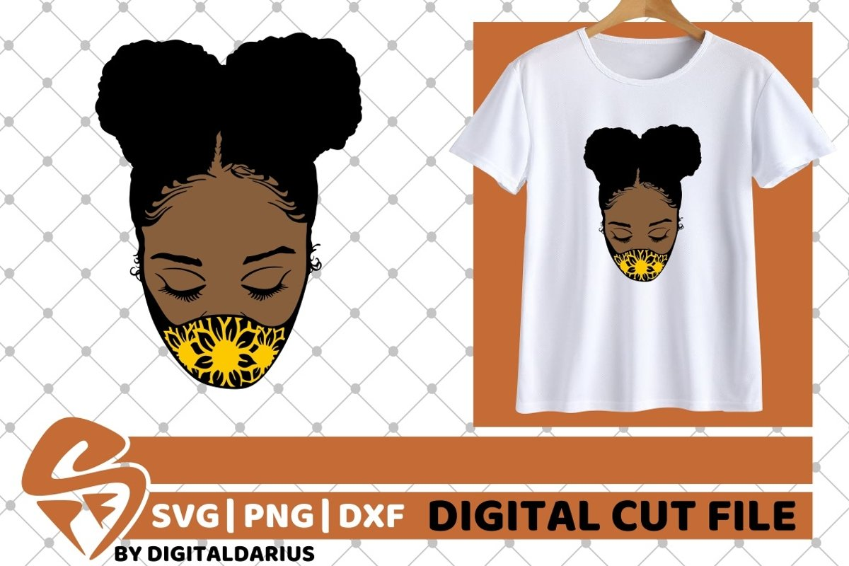 Black Woman with Mask svg, Quarantine svg, Sunflower svg example image 1