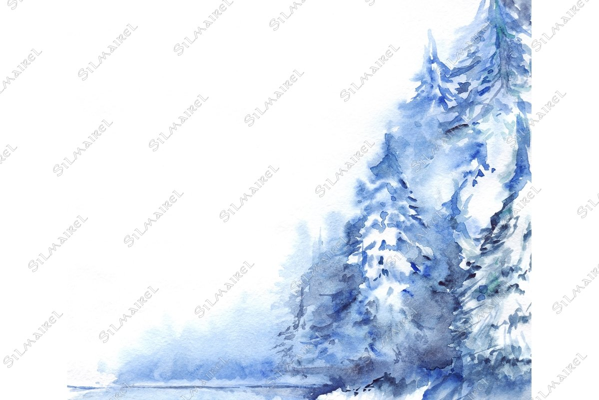 Watercolor winter snowy pine wood forest landscape example image 1