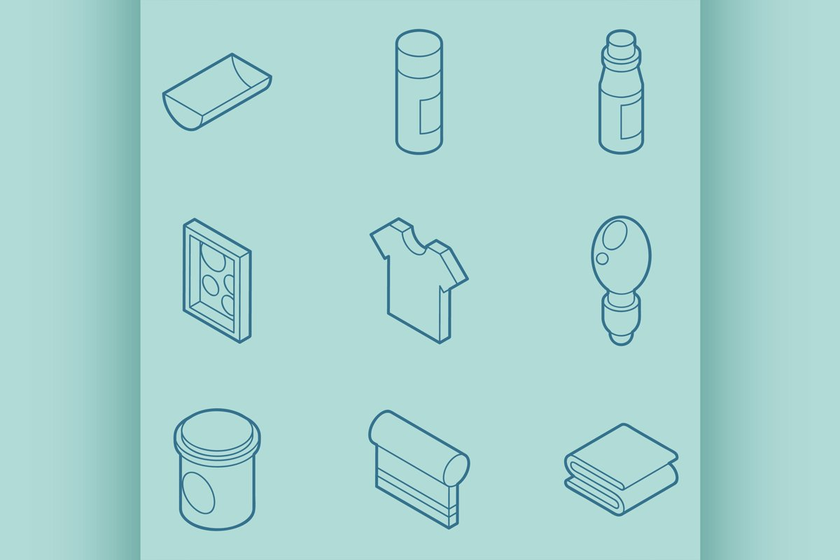 Silkskreen color outline isometric icons example image 1
