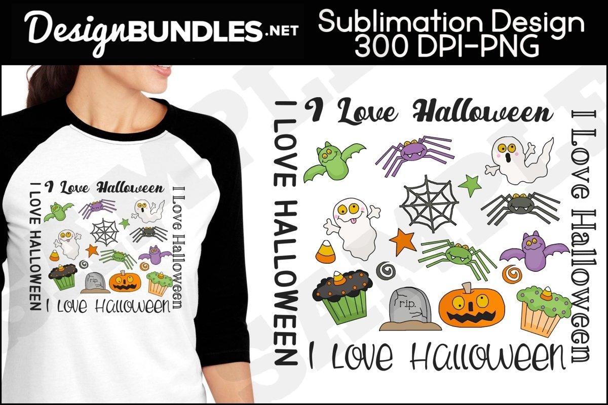 I Love Halloween Sublimation Design example image 1