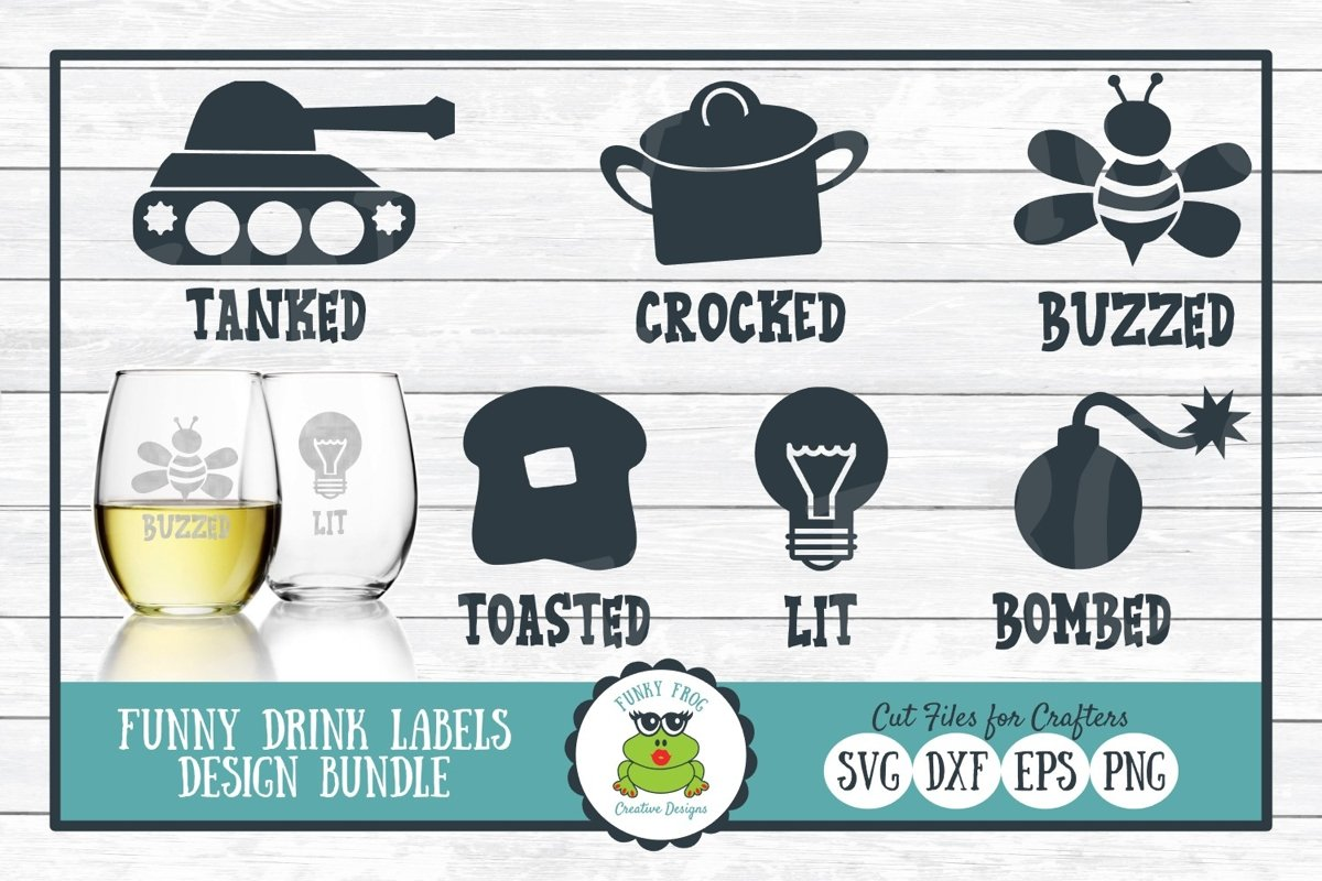 Funny Drink Labels Design Bundle - SVG Cut Files for Crafter example image 1
