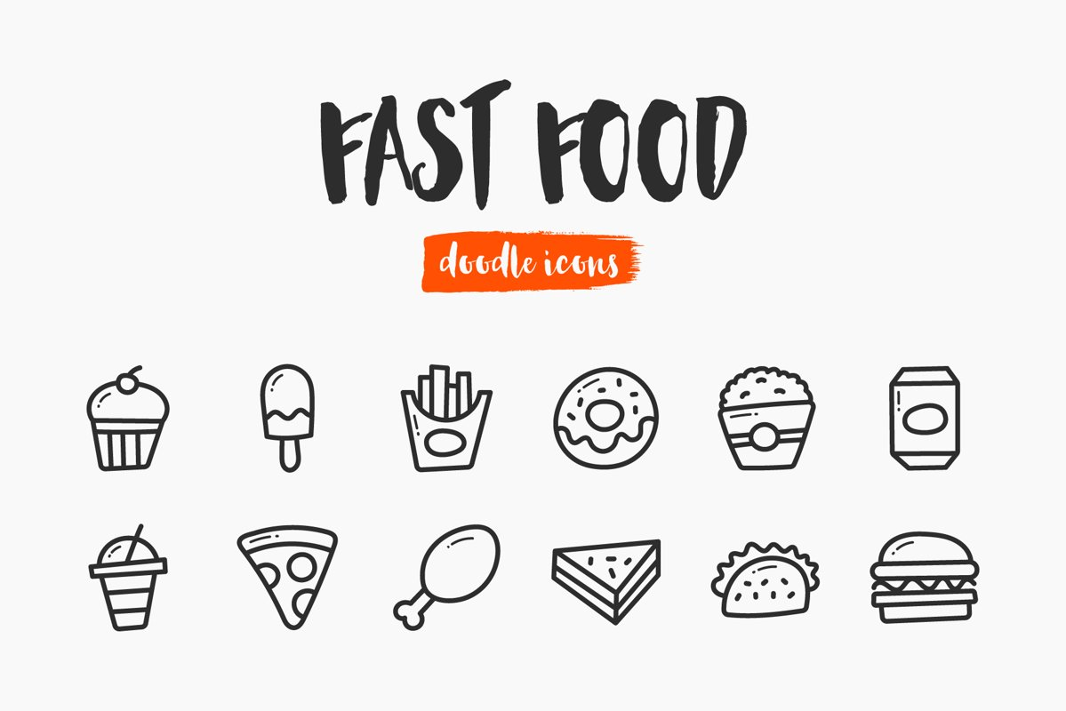 Fast Food Hand-Drawn Doodle Icons example image 1