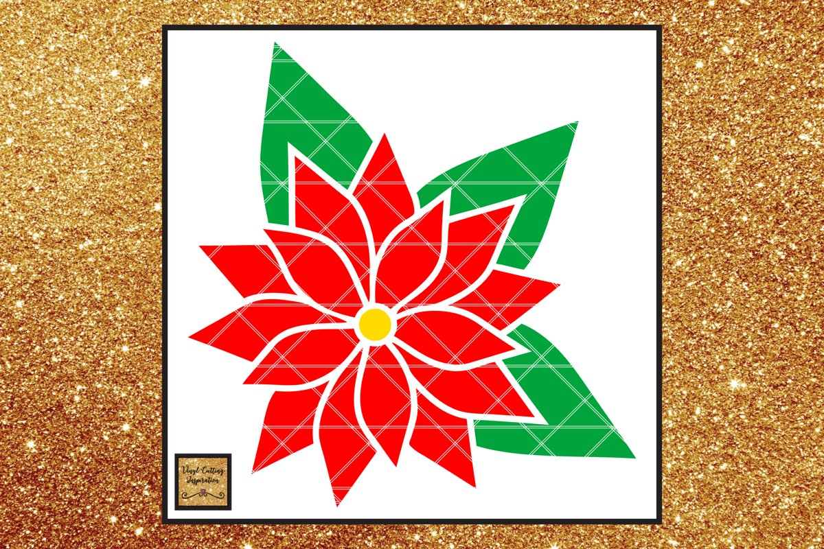 Christmas Svg, Poinsettia Flower Template, Flower svg dxf example image 1