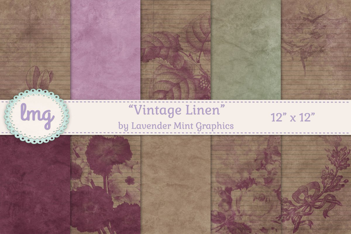 Vintage Linen Floral Print Digital Scrapbooking Papers example image 1
