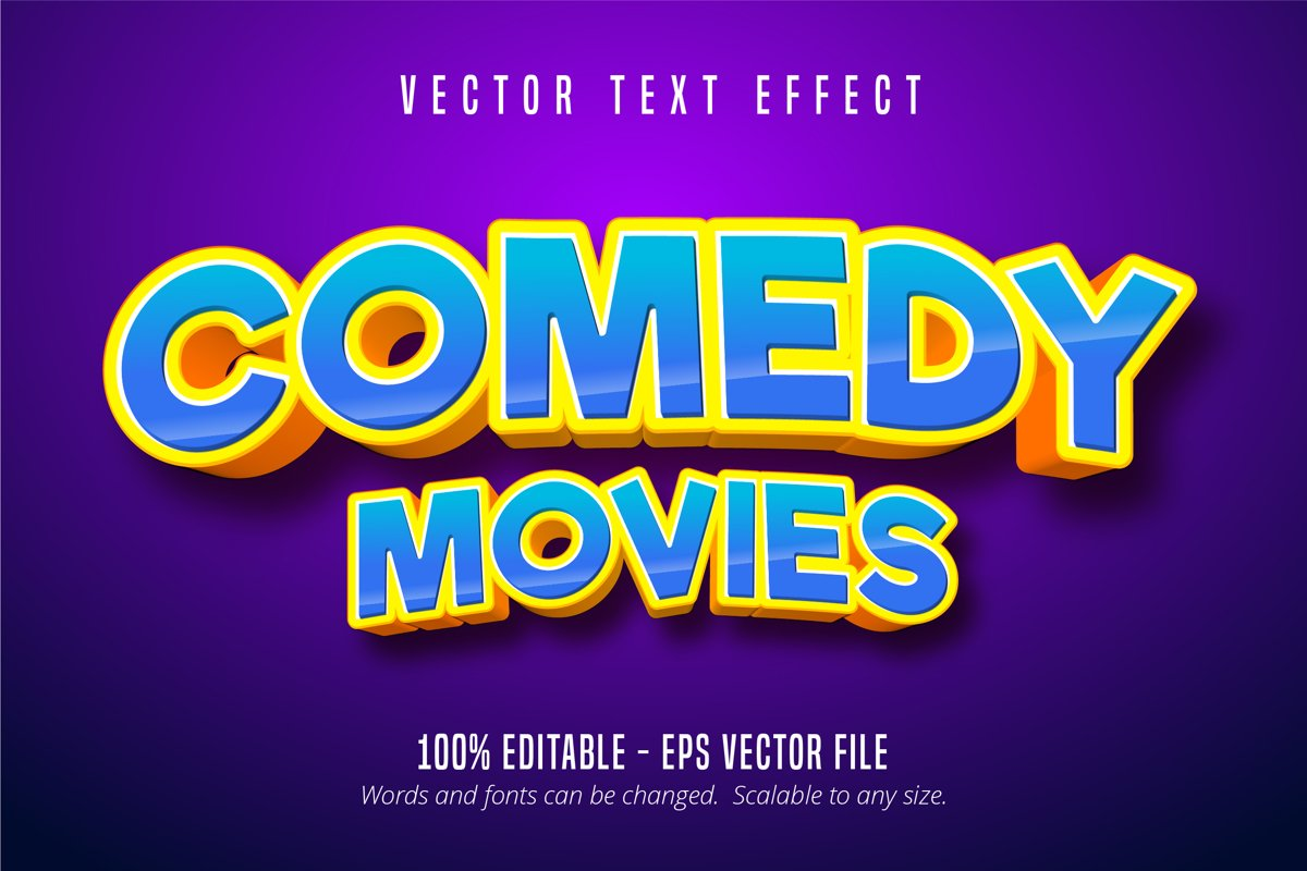 Comedy movies text, cartoon style editable text effect example image 1