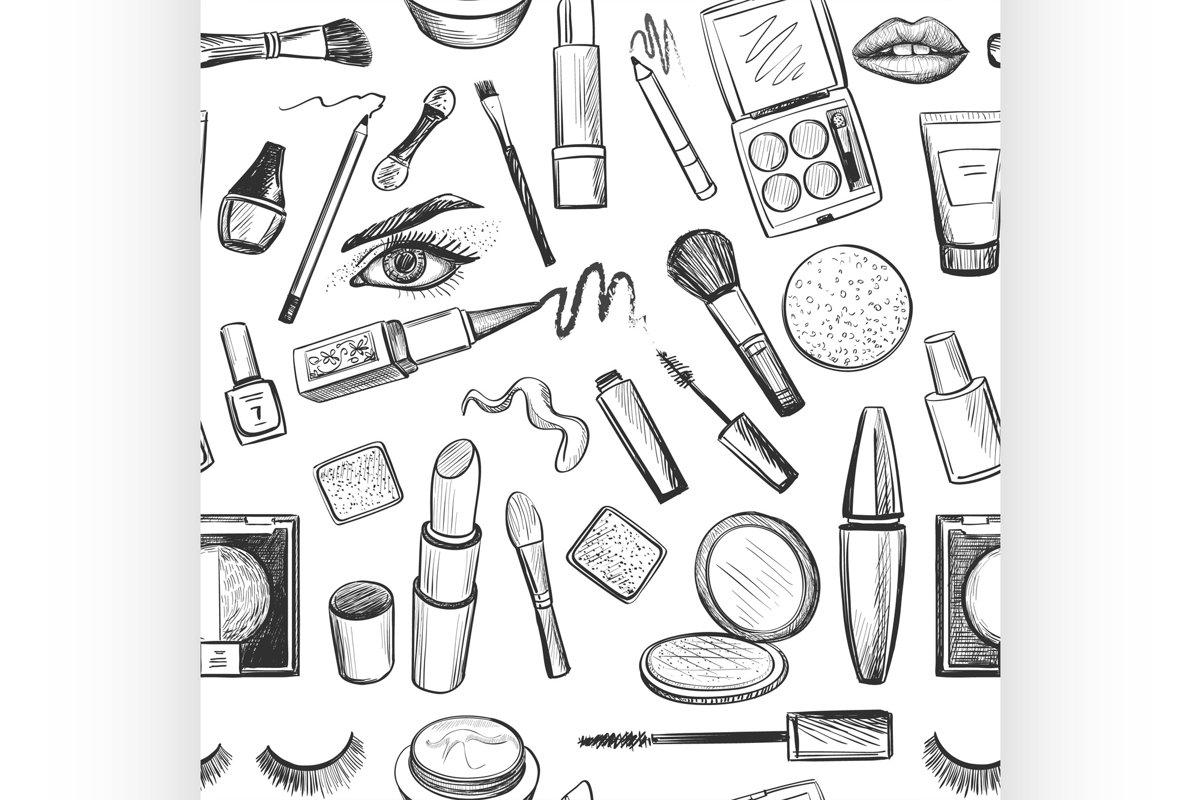 Glamorous make-up seamless pattern example image 1