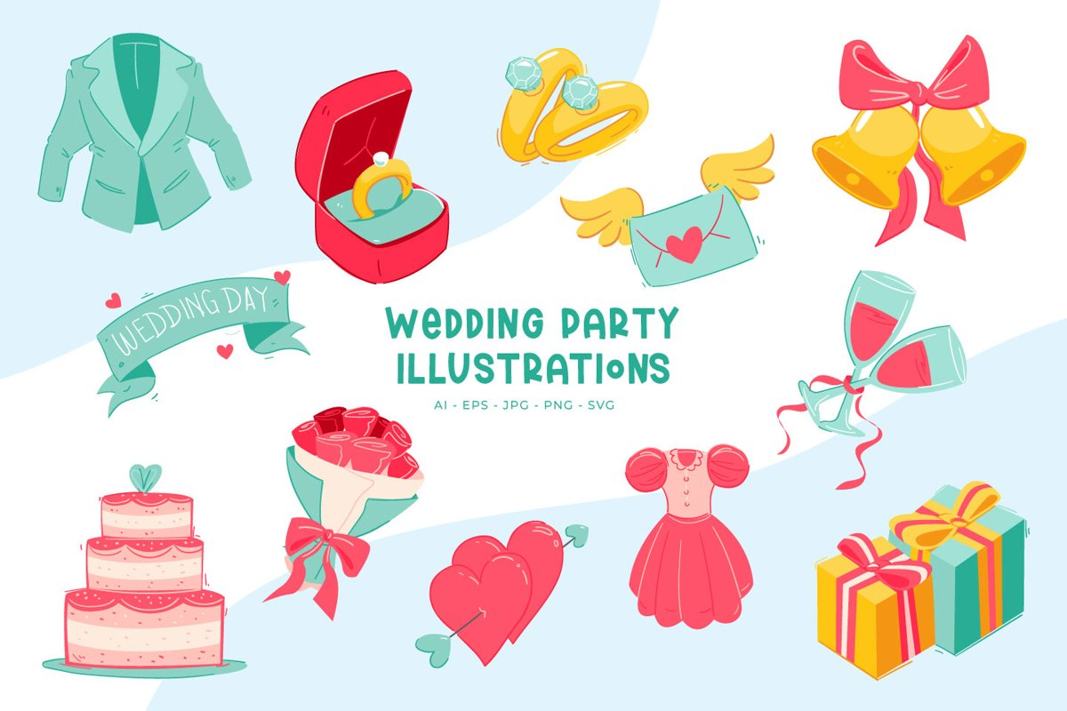Wedding Party illustrations example image 1