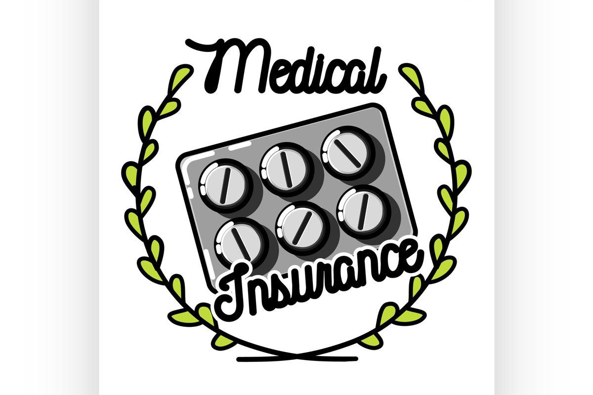 Color vintage medical insurance emblem example image 1