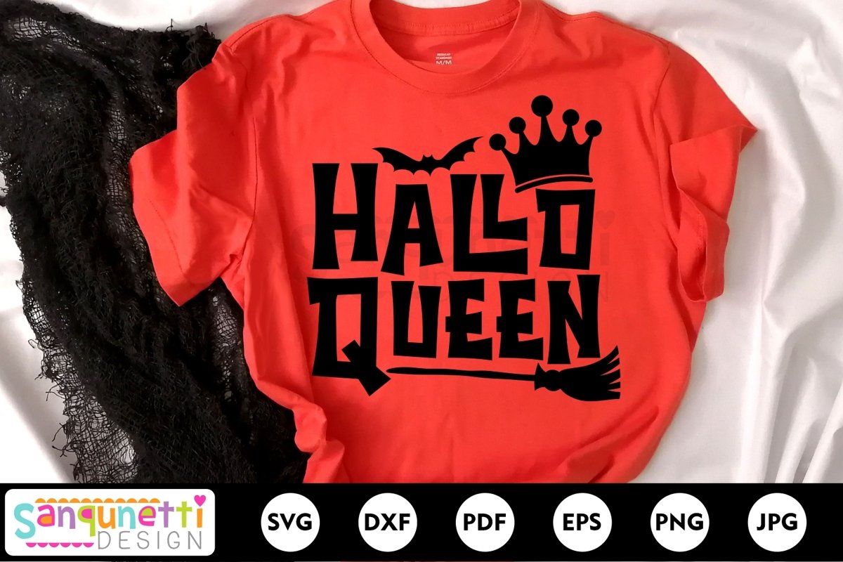 Hallo Queen SVG, Halloween cutting files, Funny Halloween example image 1