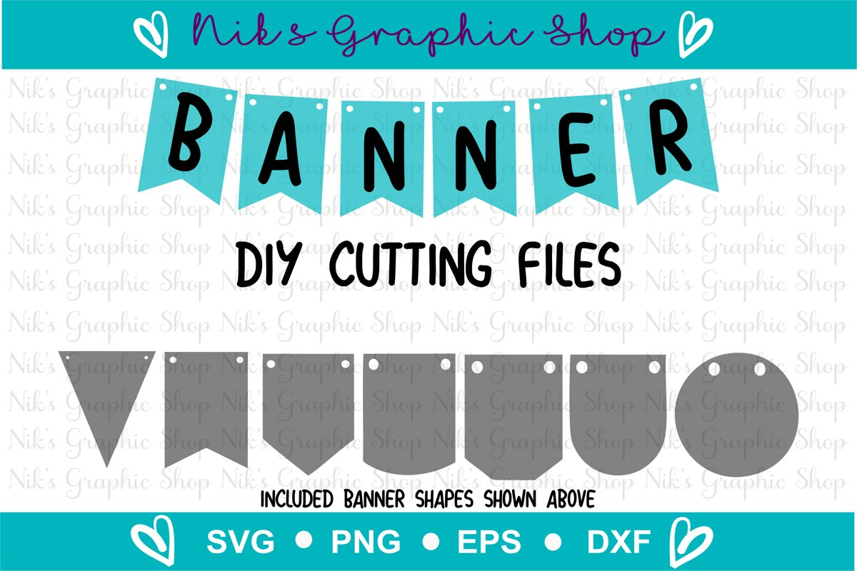 Banner Svg, Bunting Banner Svg, Banner Cut Files, Flag Svg example image 1