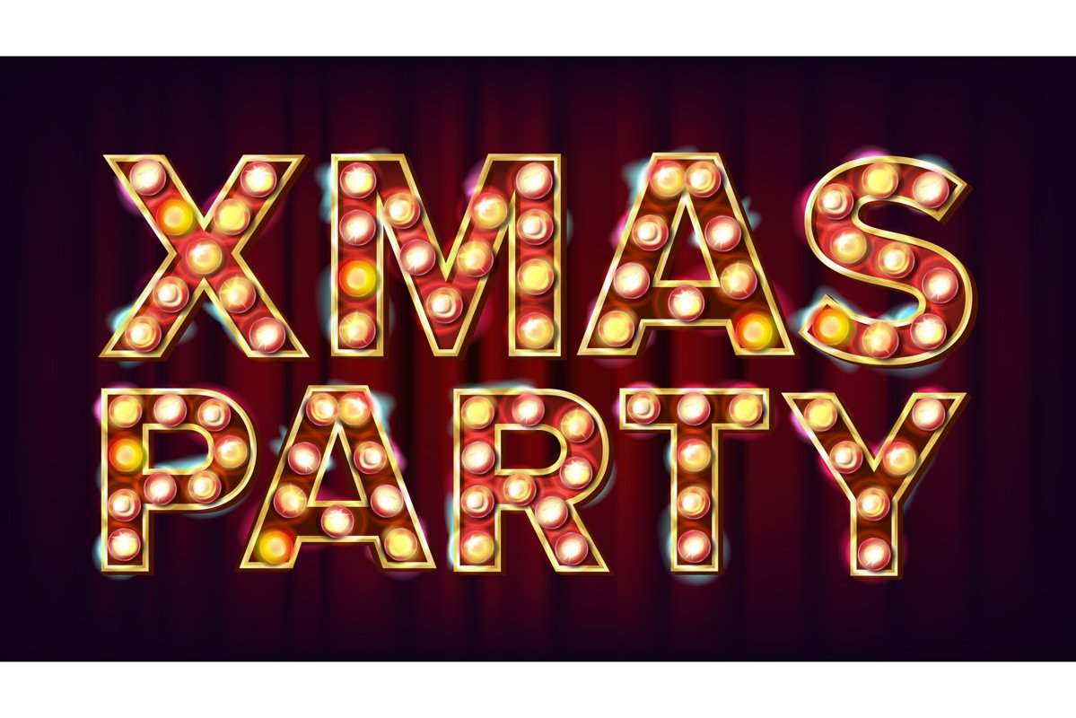 Christmas Retro Party Sign Vector. Realistic Retro Shine example image 1