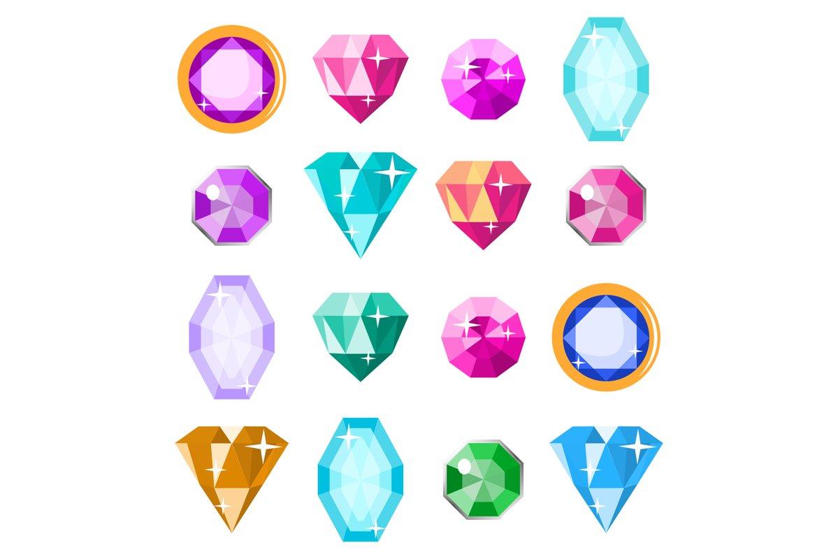 Precious Stones Set Vector. Cartoon Jewels example image 1