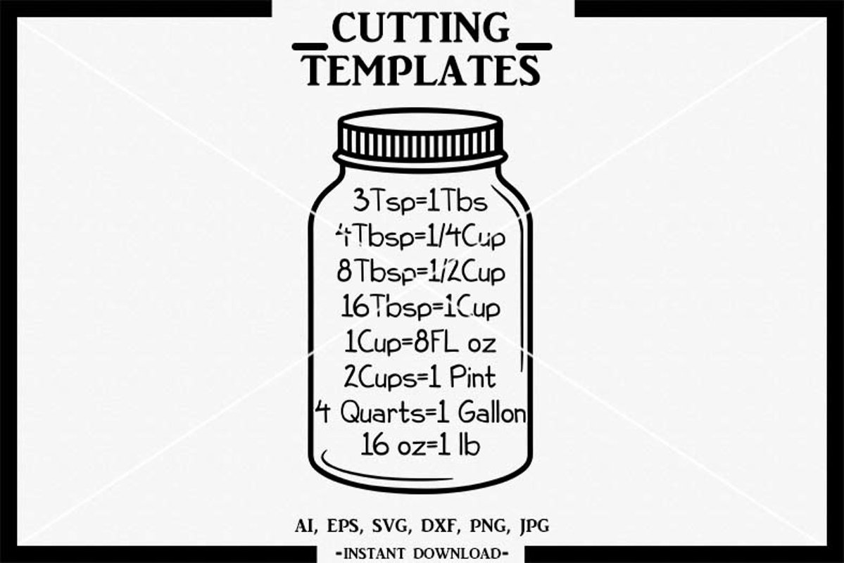 Download Kitchen SVG, Mason Jar SVG, Kitchen Measurement SVG, SVG ...