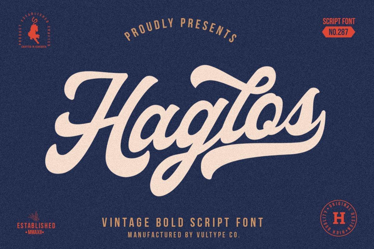 Haglos - Bold Script Font example image 1
