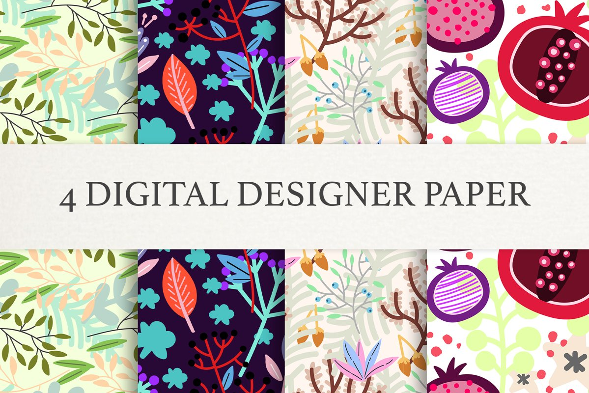 Floral Digital Paper, Scrapbook Papers, Seamless Patterns example image 1