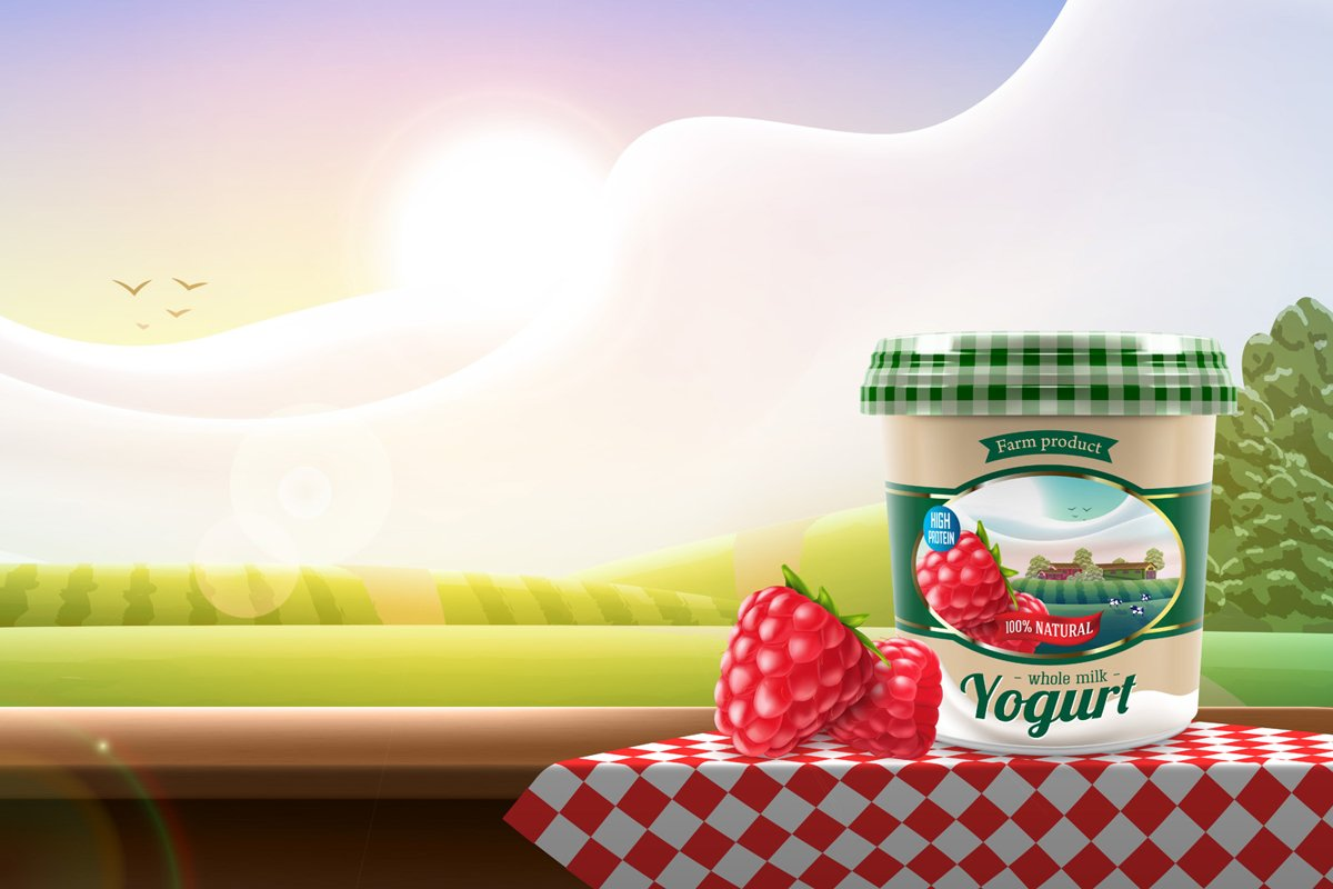 Greek yogurt with raspberry jar design example image 1