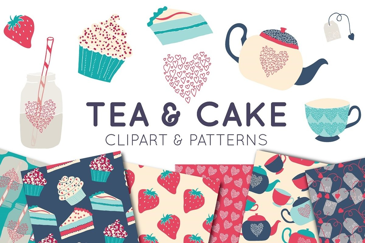 Tea & Cake Clipart and Seamless Pattern Collection - Tea Party Digital example image 1