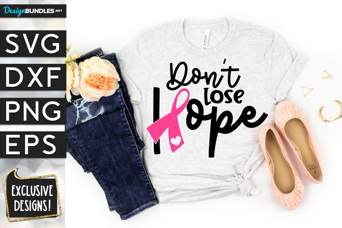 Don't Lose Hope Breast Cancer Ribbon SVG DXF PNG EPS example image 1