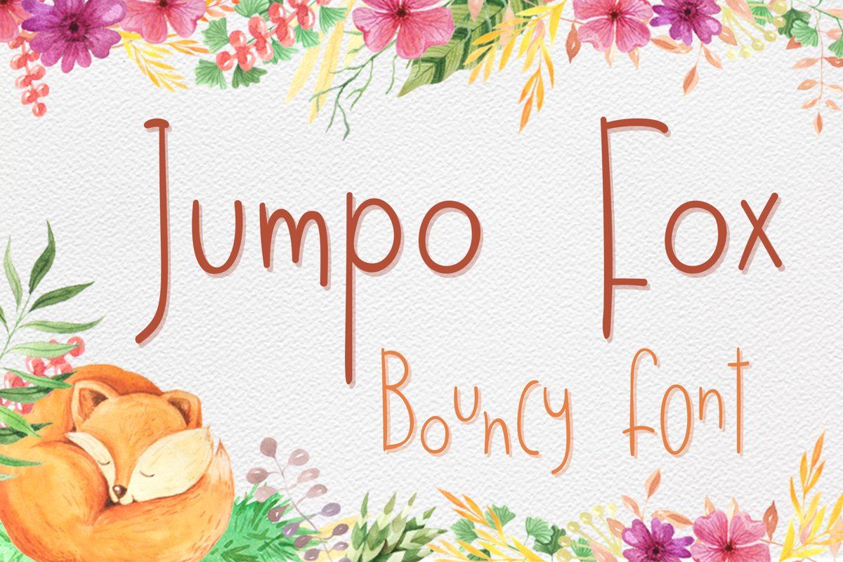 Jumpo Fox - thin bouncy font example image 1