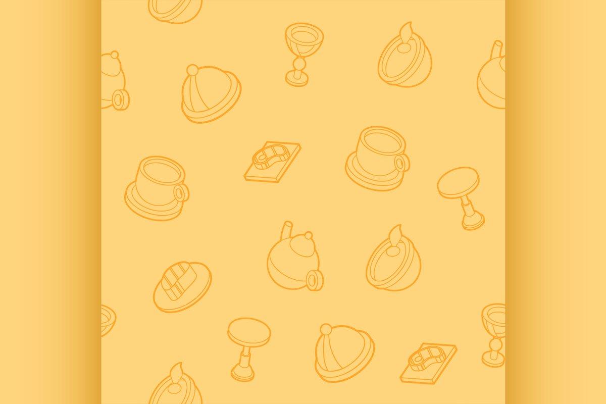 Restaurant flat outline isometric pattern example image 1
