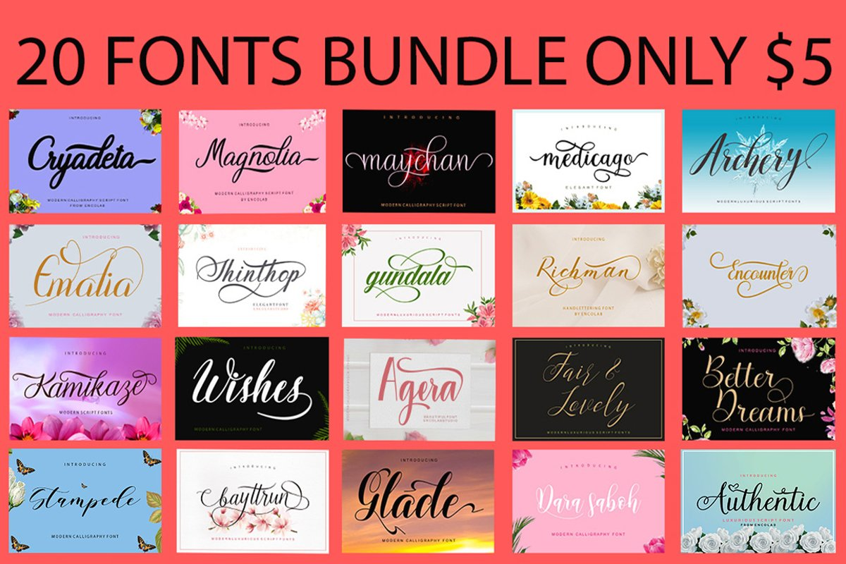 20 Fonts Bundle Only $5 example image 1
