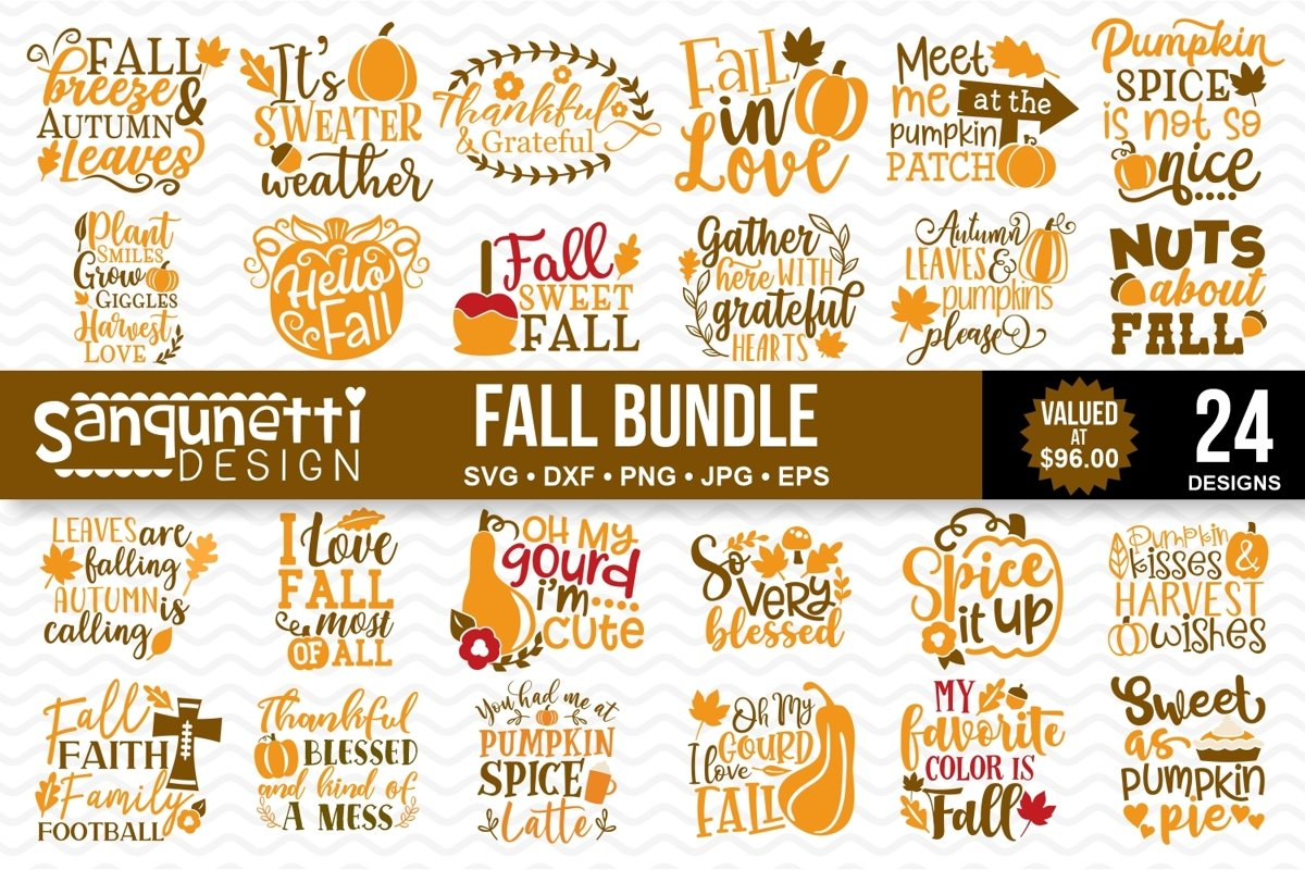 Fall SVG bundle, autumn cut files example image 1