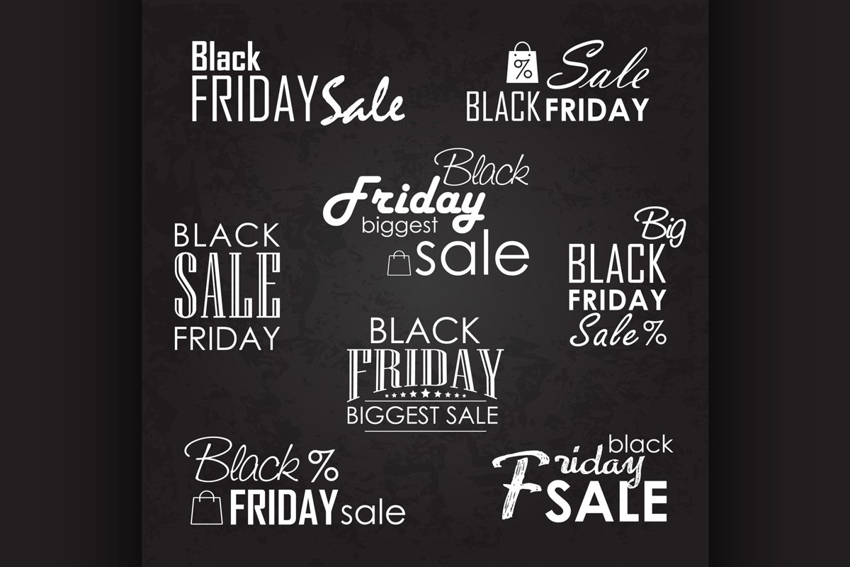 Black Friday Sale Calligraphic Designs set on blackboard example image 1