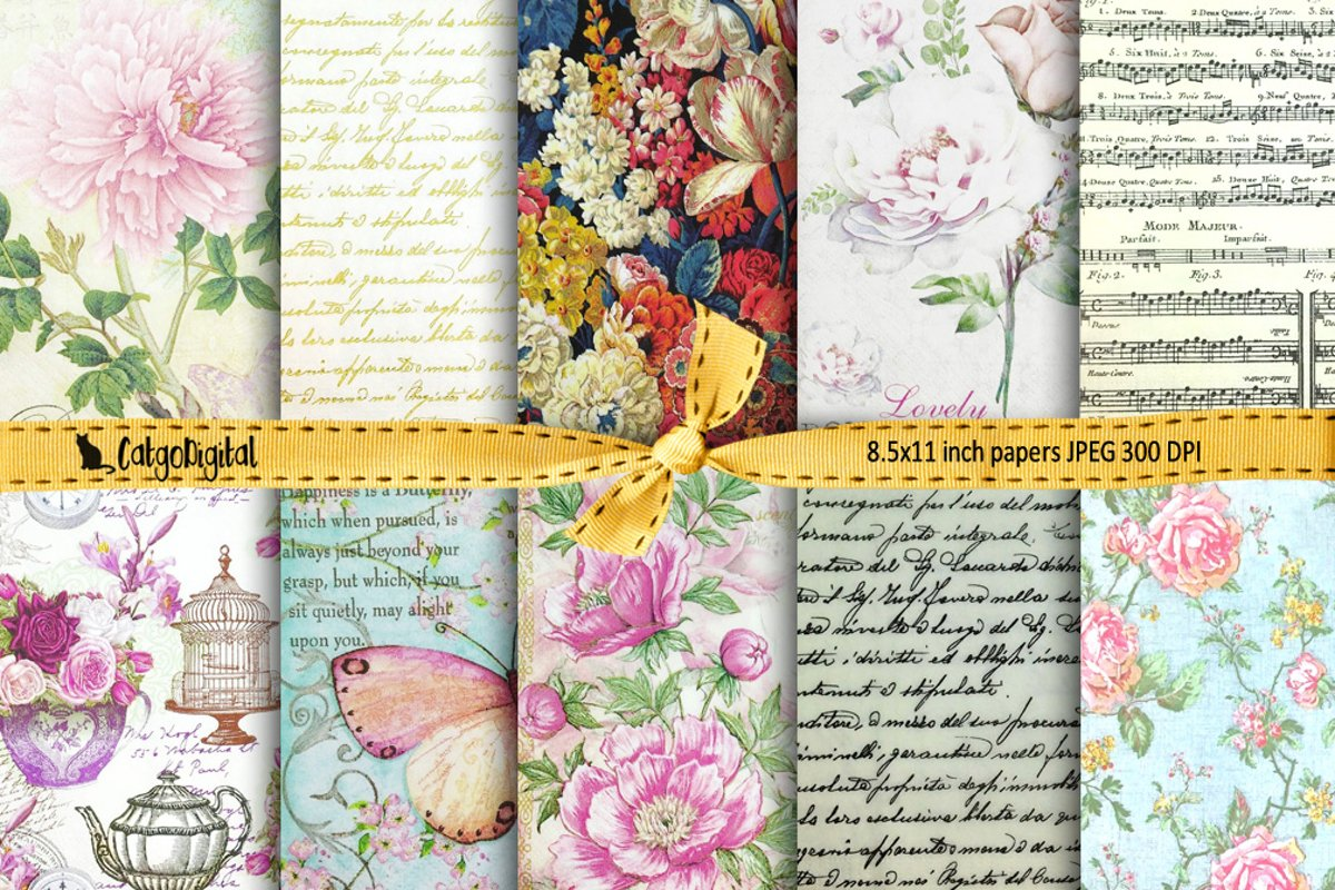 Romantic Digital Papers Background Papers Scrapbooking example image 1