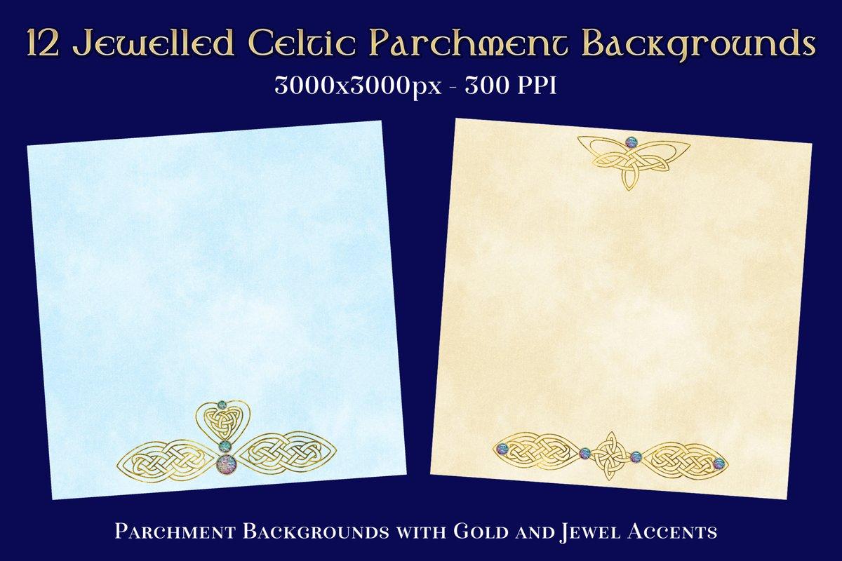 12 Jewelled Celtic Parchment Backgrounds Textures Set example image 1