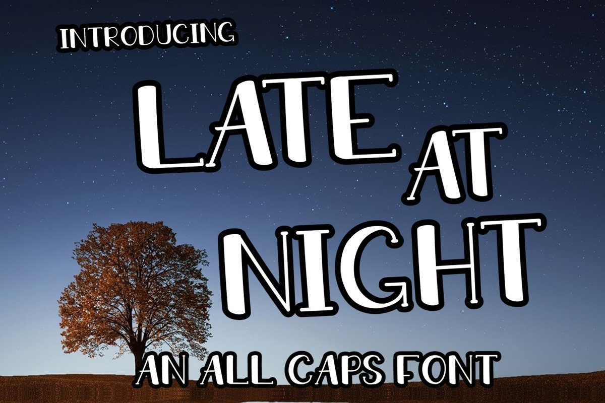 LATE AT NIGHT | An All Caps Font With Numbers example image 1
