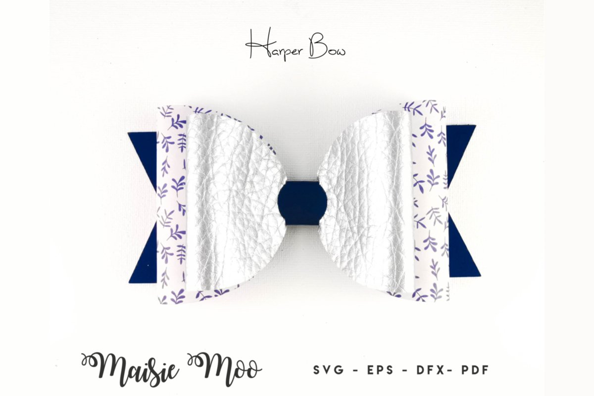 Harper Bow Template SVG, Bow SVG, Hair Bow PDF, Classic Bow, example image 1